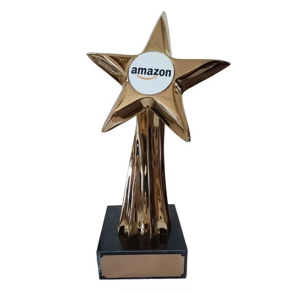 """Shooting Star Award with 2"""" circle for your Logo Solid Metal"""
