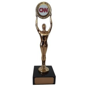 Modern Male Achievement Award with your Logo over head Solid Metal