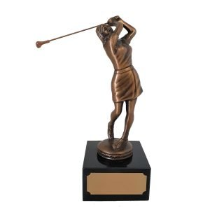 Female Golf After Swing Trophy Solid Metal
