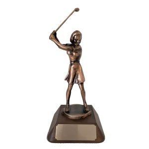 Female Golf Swinging Solid Metal