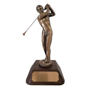 Male Golf after swing Solid Metal