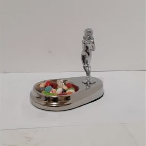 Art Deco Candy Dish with Lady Solid Metal