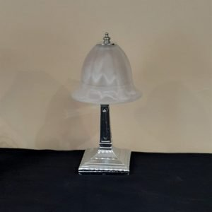 Bedside Lamp with Glass Shade Solid Metal